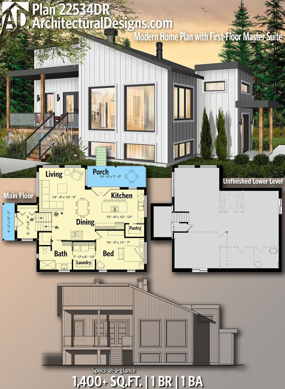 Plan 22534dr Modern Home Plan With First Floor Master Suite Modern House Plans Architecture Design House Plans