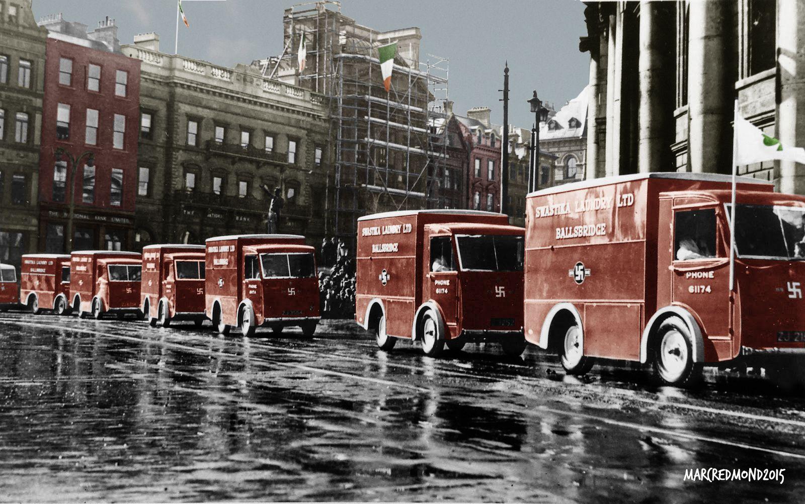 eeeb4c604f Swastika Laundry vans cross College Green in Dublin