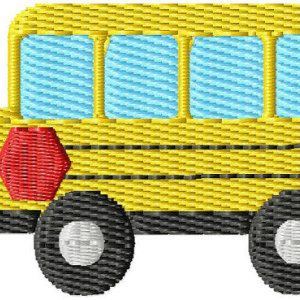 School Bus Mini Machine Embroidery Design - INSTANT DOWNLOAD