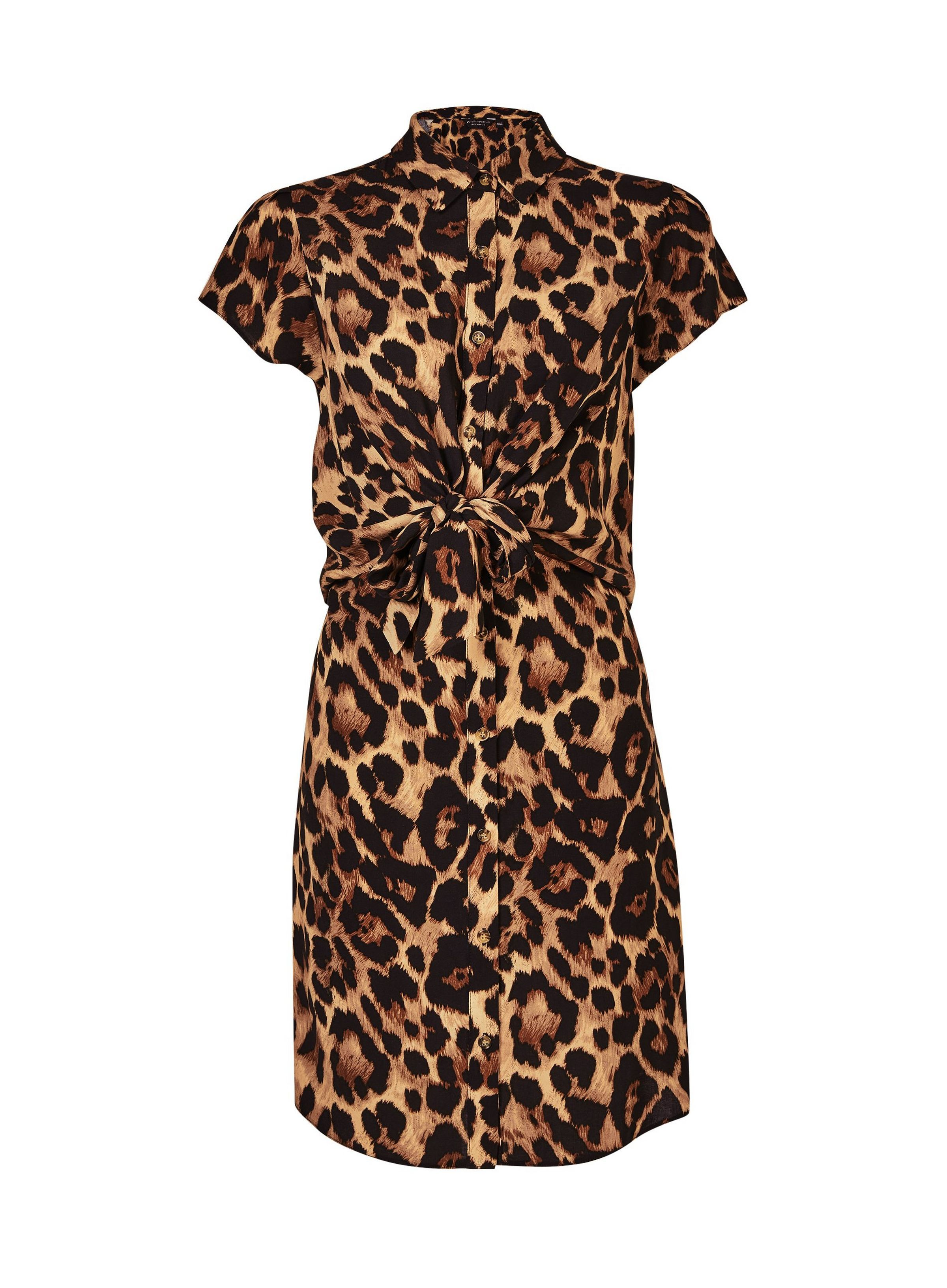 a5a53342b493 Multi Colour Animal Print Knot Shirt Dress in 2019   Holiday ...