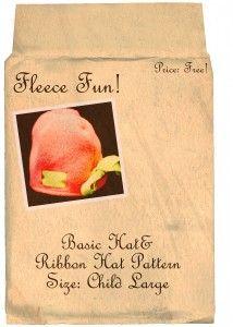 Basic Hat With Ribbon   free fleece hat pattern on www.fleecefun.com