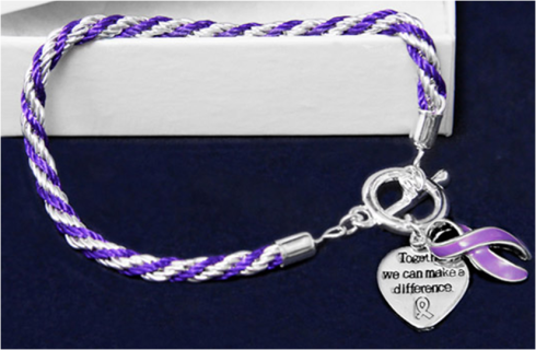 Sterling Silver Together We Can Make A Difference Bracelet Purple Ribbon Awareness Purple Ribbon Awareness Jewelry