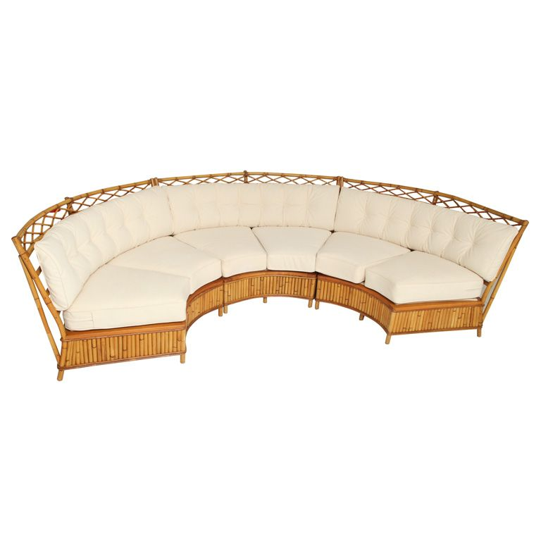 Curved Rattan Garden Sofa: Vintage Rattan Curved Sofa By Ficks Reed