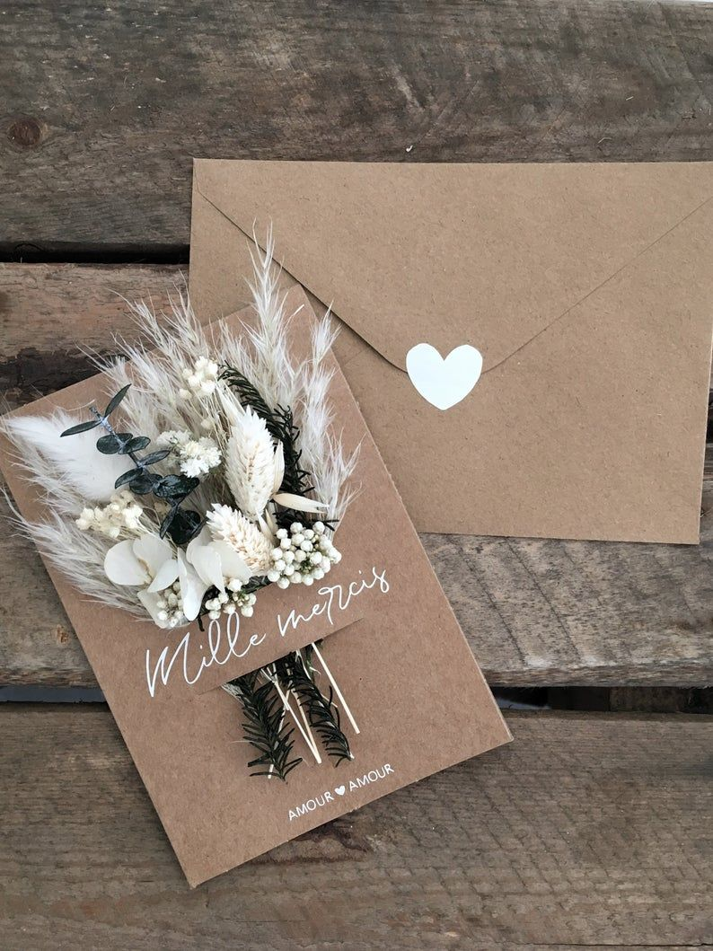 Personalised dried flower greeting card, Thank you card