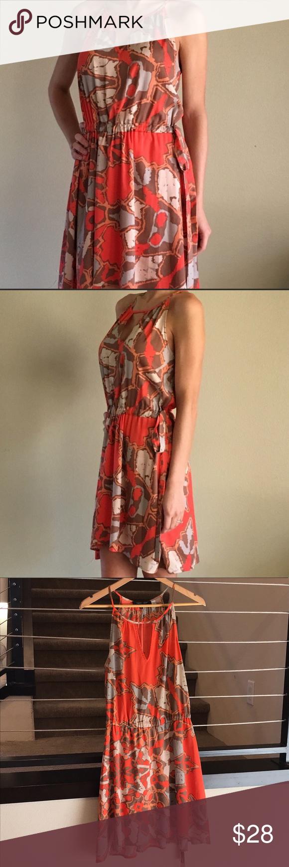Key Hole Tie Wait Front Summer Print Dress Printed Summer Dresses Dresses Print Dress [ 1740 x 580 Pixel ]