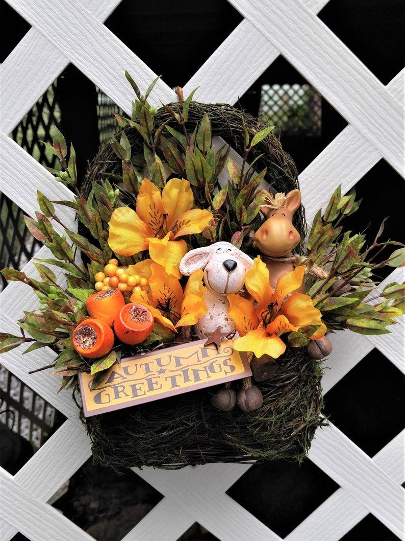 Fall Door Basket Autumn Hanging Basket Lamb Décor