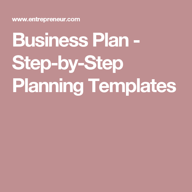 Business Plan  StepByStep Planning Templates  Personal