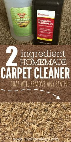 Try this easy Homemade Carpet Cleaner next time you find a carpet stain. This homemade carpet stain remover works amazing and it only needs two ingredients! It is the best homemade carpet cleaner. #onecrazymom #carpetcleaner #stainremover