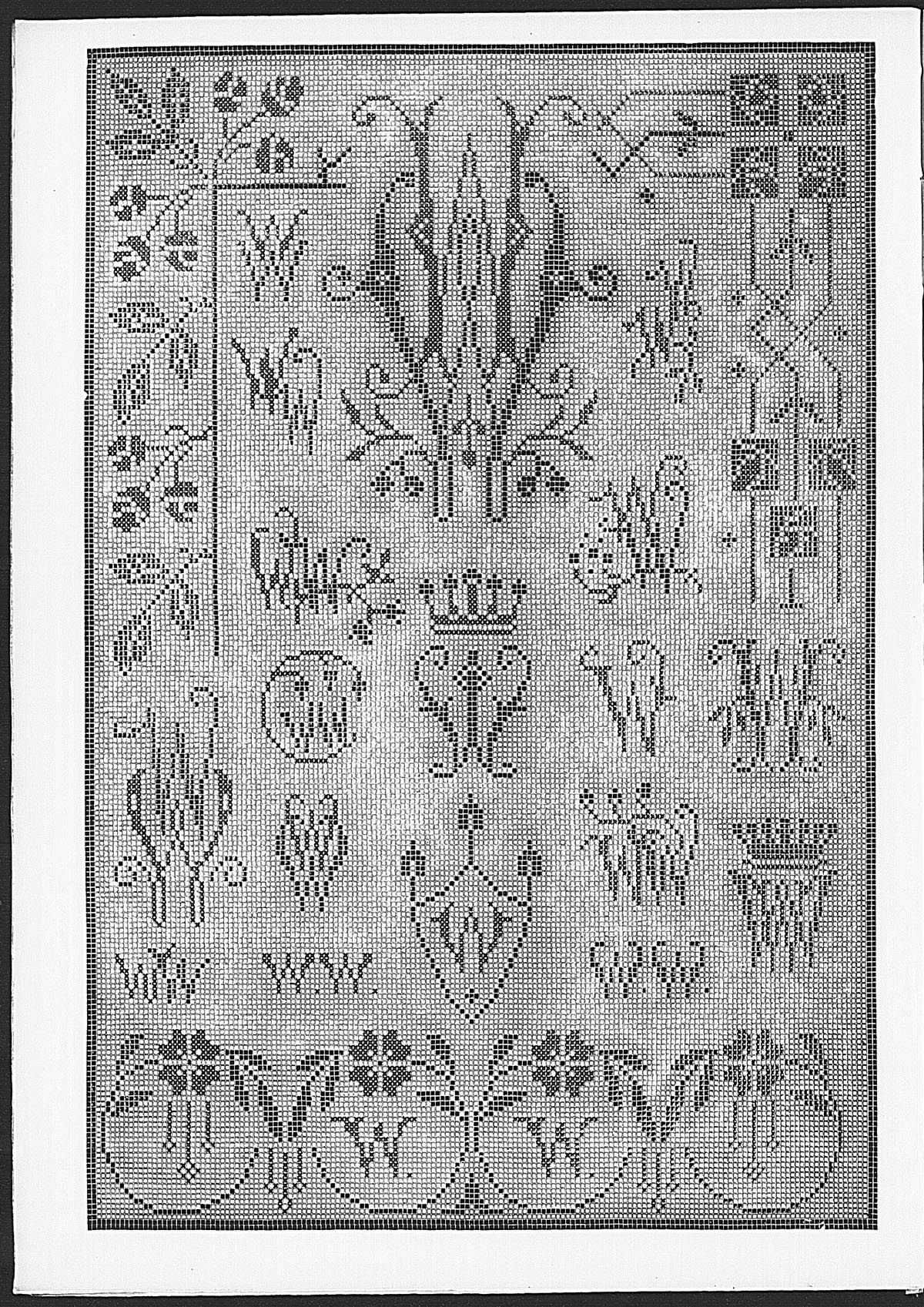 Cross stitch monograms, borders and ornaments, some in Art Nouveau style.   (visit site for bigger picture)  Gracieuse. Geïllustreerde Aglaja, 1912, aflevering 20, pagina 16