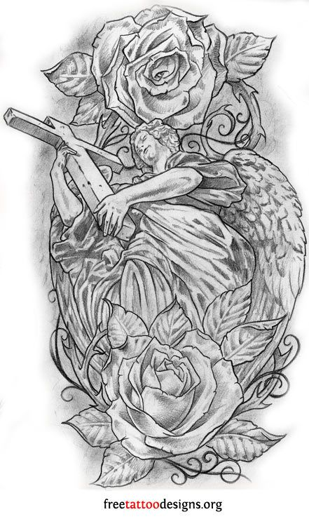 angel cross and roses tattoos pinterest tattoos tattoo drawings and samoan tattoo. Black Bedroom Furniture Sets. Home Design Ideas