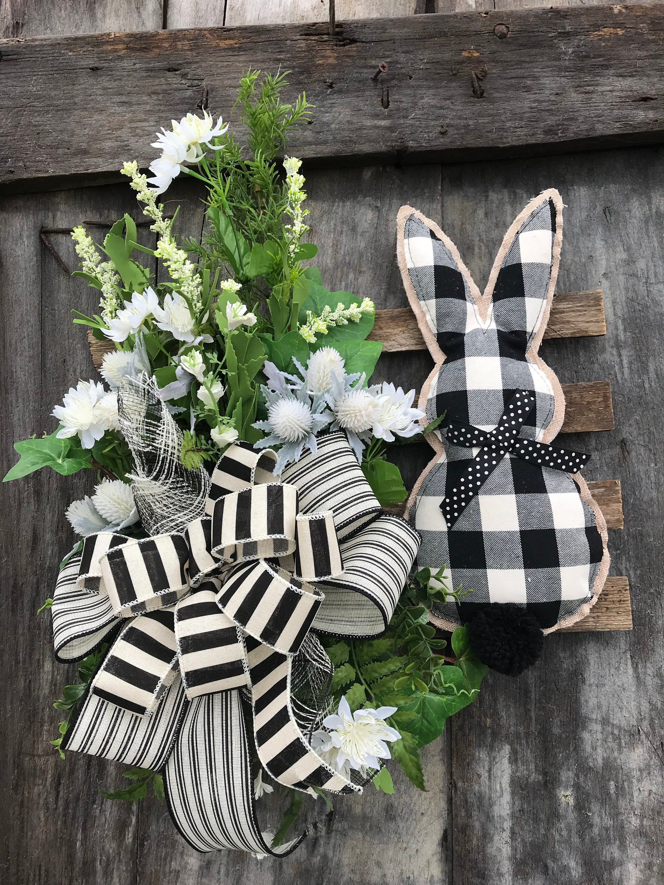 Photo of Easter Black and Ivory Bunny on wooden slates for front door, Easter Bunny Wreath, Holiday wreaths for front door, grapevine, farmhouse