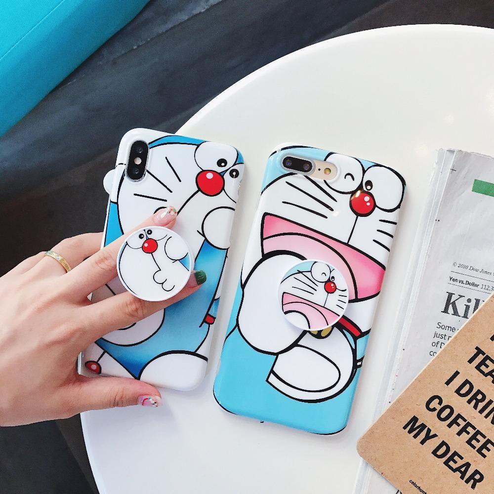 Doraemon case pop socket for iphone 6 7 8 x