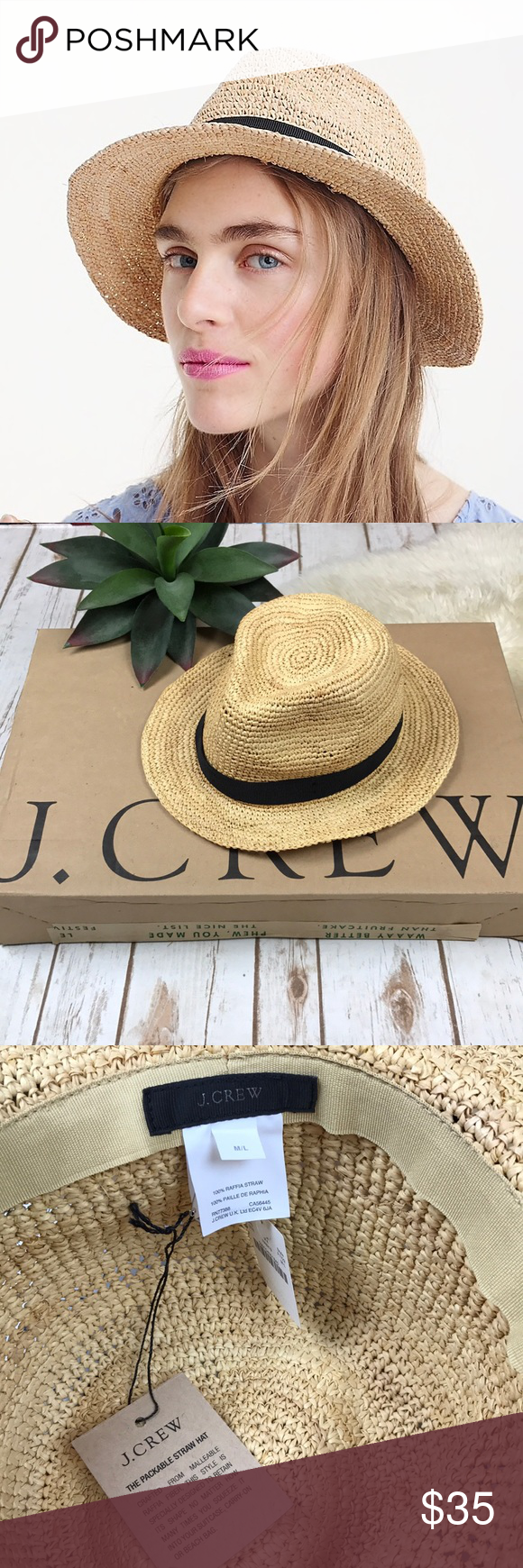 b6b38d0e95e98 J. Crew Packable Straw Hat New With Tags 🔸 J Crew Packable Straw Hat. Size  M L. J. Crew Accessories Hats