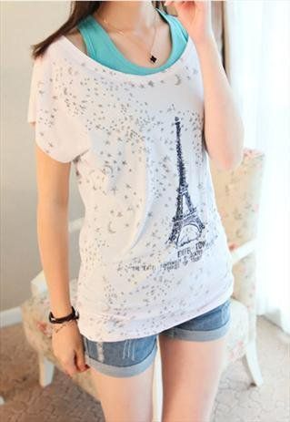 2 Pieces Tank Top Set with Eiffel Tower Print