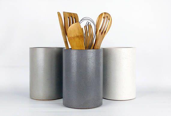 Kitchen Utensil Holder / Concrete Utensil Holder / Kitchen ...