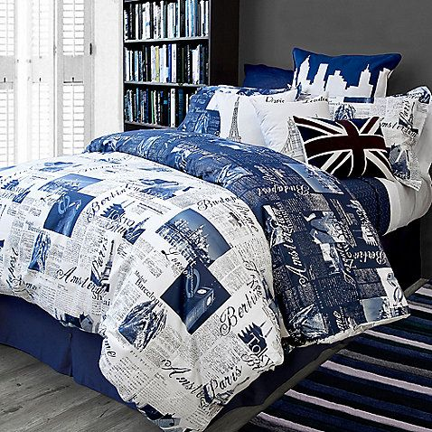 Travel To Beautiful Cities In Your Dreams With The Pport London And Paris Reversible Duvet Cover Set A Blue Newsprint Inspired Graphic Design On