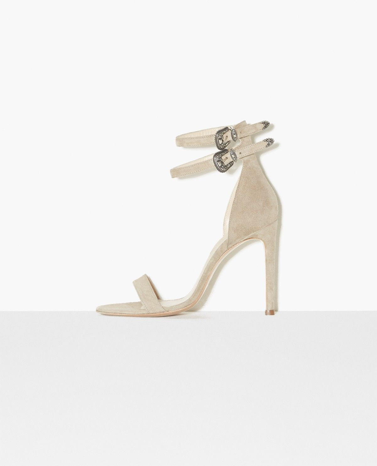Sandales à talons en daim à double boucle - CHAUSSURES FEMME