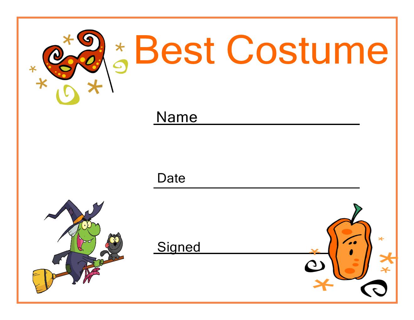 Halloween Best Costume Certificate