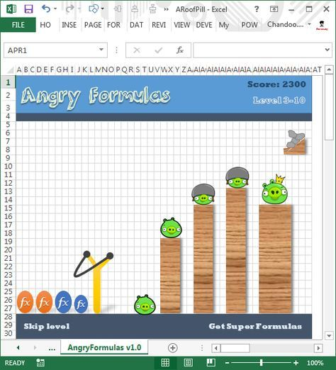 Unlock Angy Formulas An Angry Birds Like Game Hidden In Excel