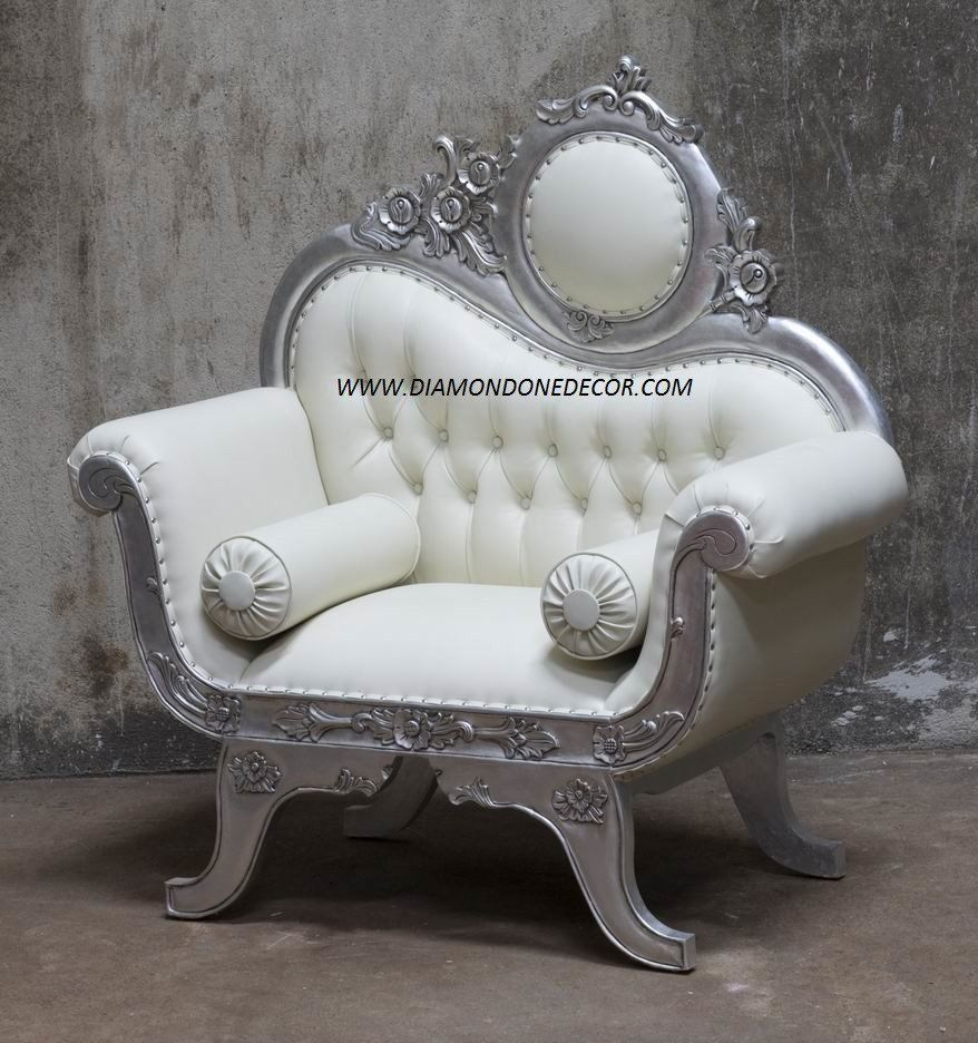 French Reproduction Baroque Victorian Wedding Chair Diamond One Decor