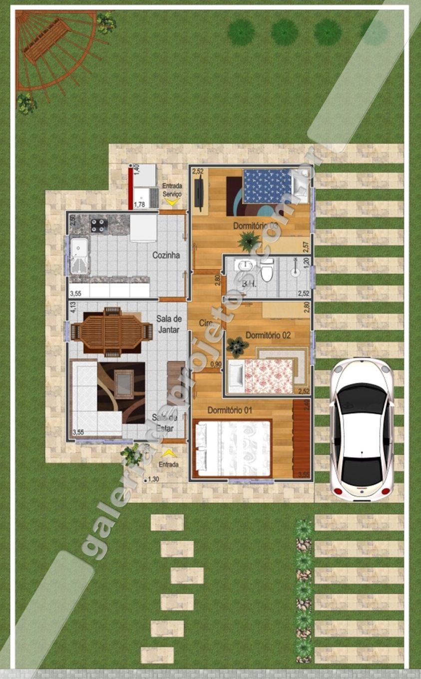Super Cód.020 - Projeto Casa Térrea - 3 Quartos - Grátis - Galeria de  WH55