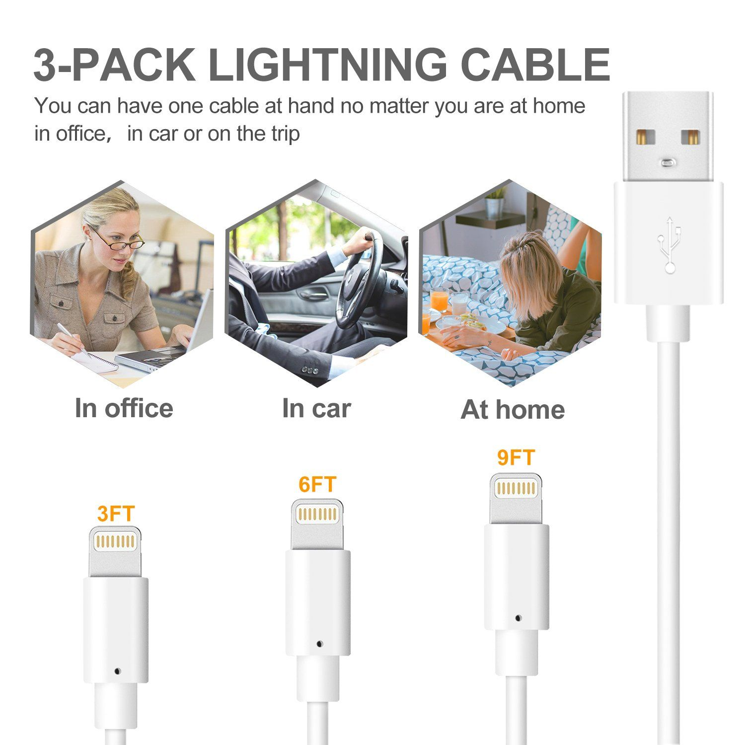 for Apple iPhone Xs,Xs Max,XR,X,8,8 Plus,7,7 Plus,6S,6S Plus,iPad Air,Mini,iPod Touch,Case Original Size 4 Pack 3FT USB Cable Infinite Power iPhone Charger Lightning Cable