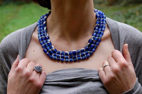 High Impact Neckpiece Knitted Russian Blue Beads of by Stitchville, $375.00