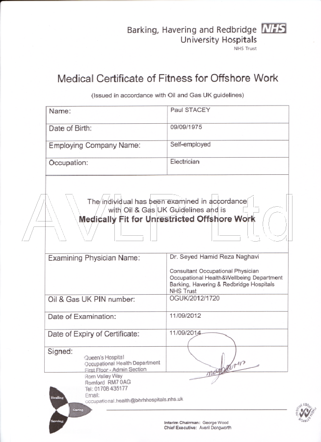 Image Result For Fitness To Work Certificate  Rig