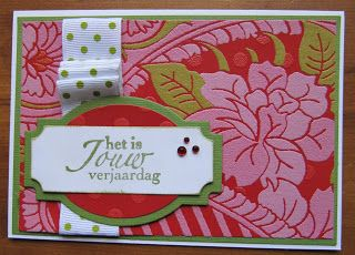 Birthday card with wallpaper and MFT dies. netsoojmiks freubelhoekje