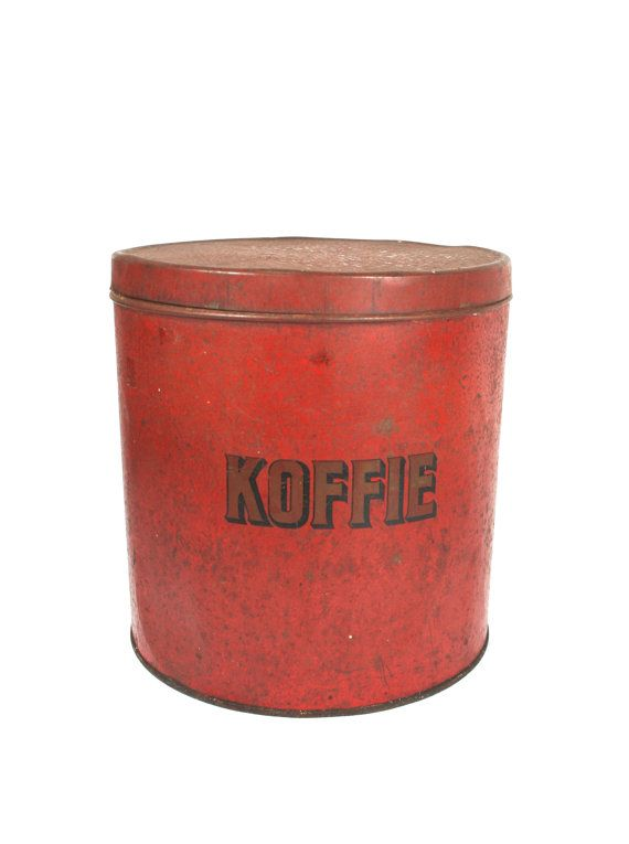 Red Coffee Tin Large Container Round By Verifiedvintagenl