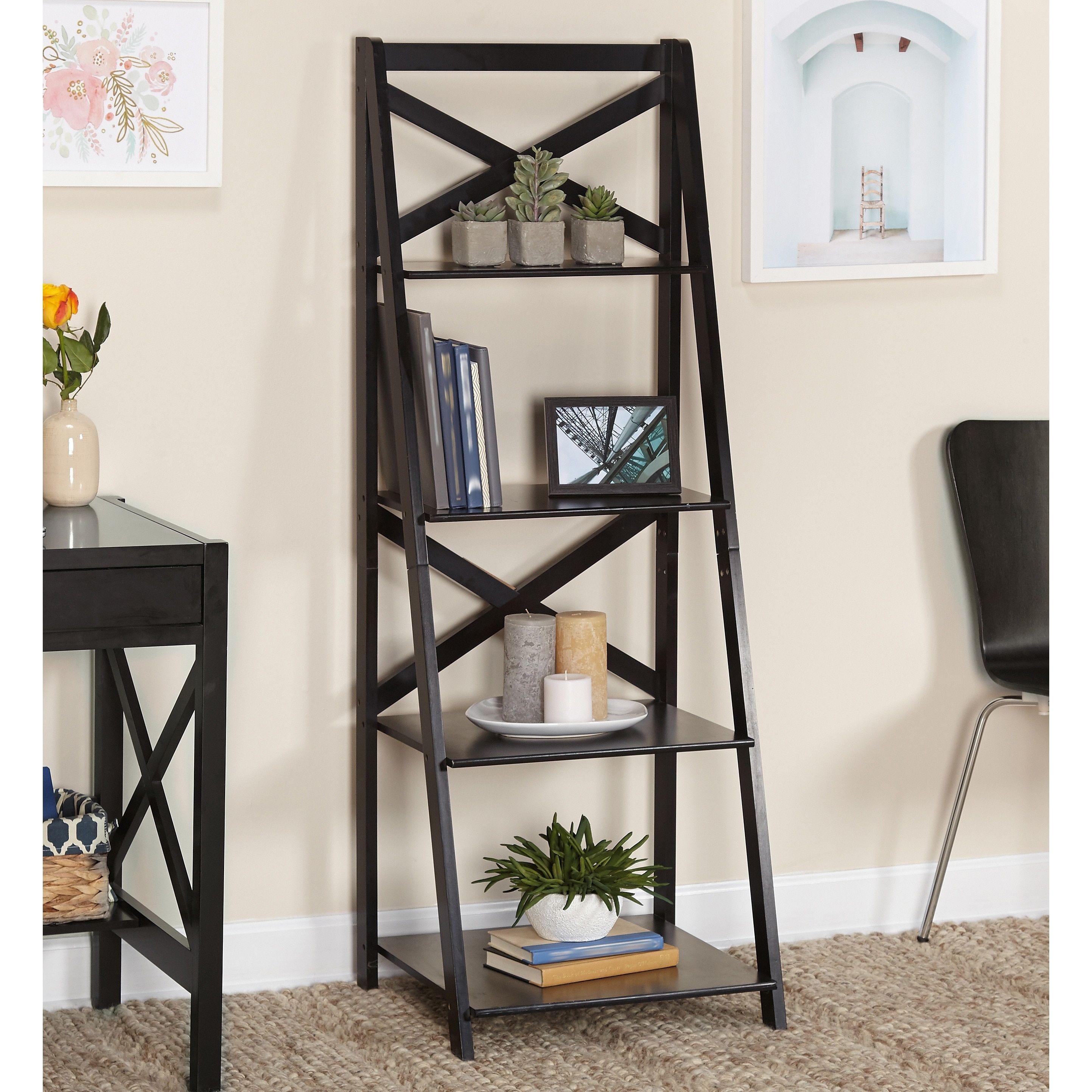 Simple living black wood xback tier ladder shelf in