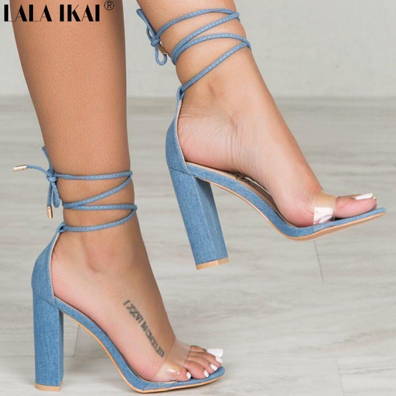 Barato LALA IKAI Nova Moda Sandálias de Salto Alto Elegante Dedo Aberto  Sexy Rendas Até Vestido 85c8ef2b0b1d