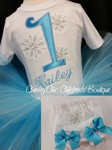 Snowflake birthday set with tee, hand tied tutu & bloomers :)