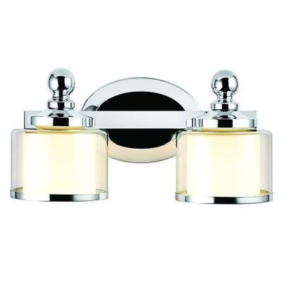 Hampton Bay Levan 2 Light Chrome Vanity Sconce With Outer Clear Glass  Shades And Inner Frosted White Glass Shades