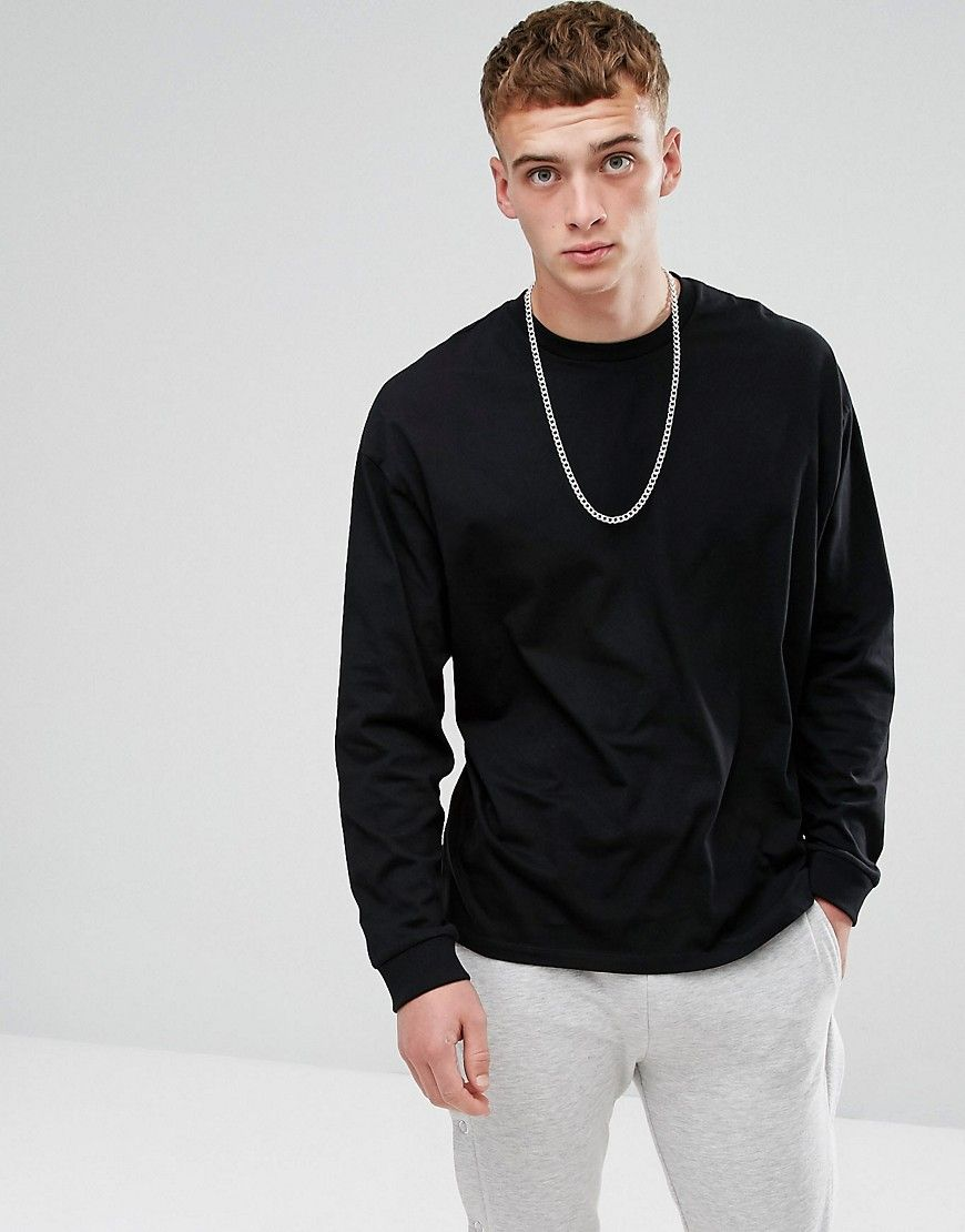 2e07185f1d ASOS Oversized Long Sleeve T-Shirt With Cuffs - Black