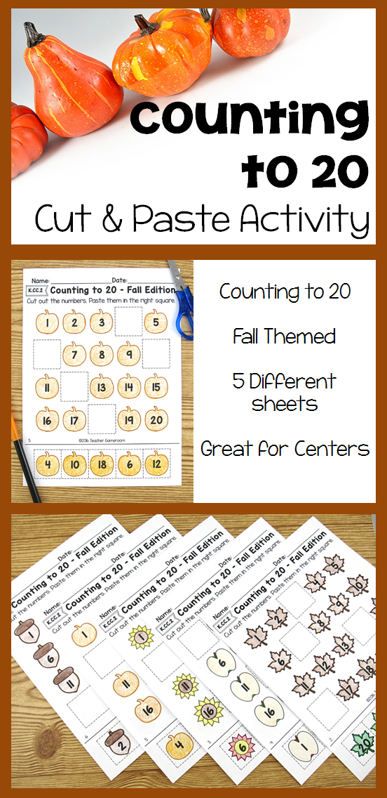 Fall themed Cut and paste activity to practice counting to 20. 5 designs to choose from.