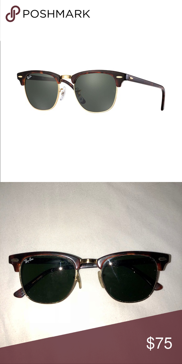 30c8c9a6176 Ray-Ban Clubmaster Sunglasses with Green lenses Authentic Ray-Ban Clubmaster  Classics with green lenses Style  RB 3016 W0366 Used  in great condition  Does ...