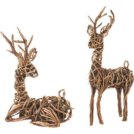 2 Piece Illuminated Grapevine Reindeer Set Reindeer Decorations Rustic Holiday Decor Rustic Holiday