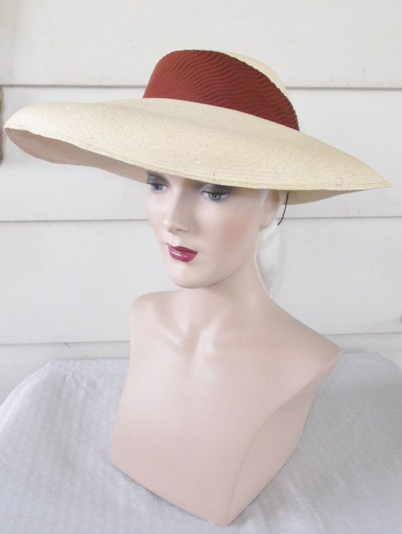 1c5caf9fe33 1940s Vintage Straw Hat with Art Deco Ribbon Dobbs Race Day and L ...
