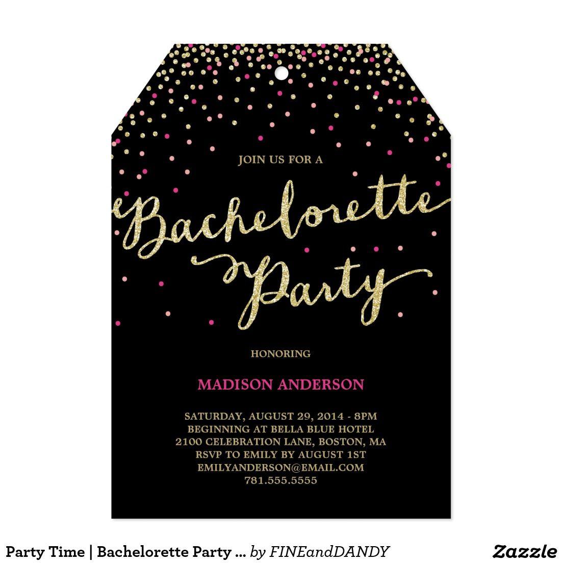 Party Time   Bachelorette Party Invitation   Bachelorette parties ...