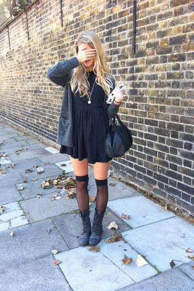 8e3e52a97 Black dress- grey boots - knee highs stockings