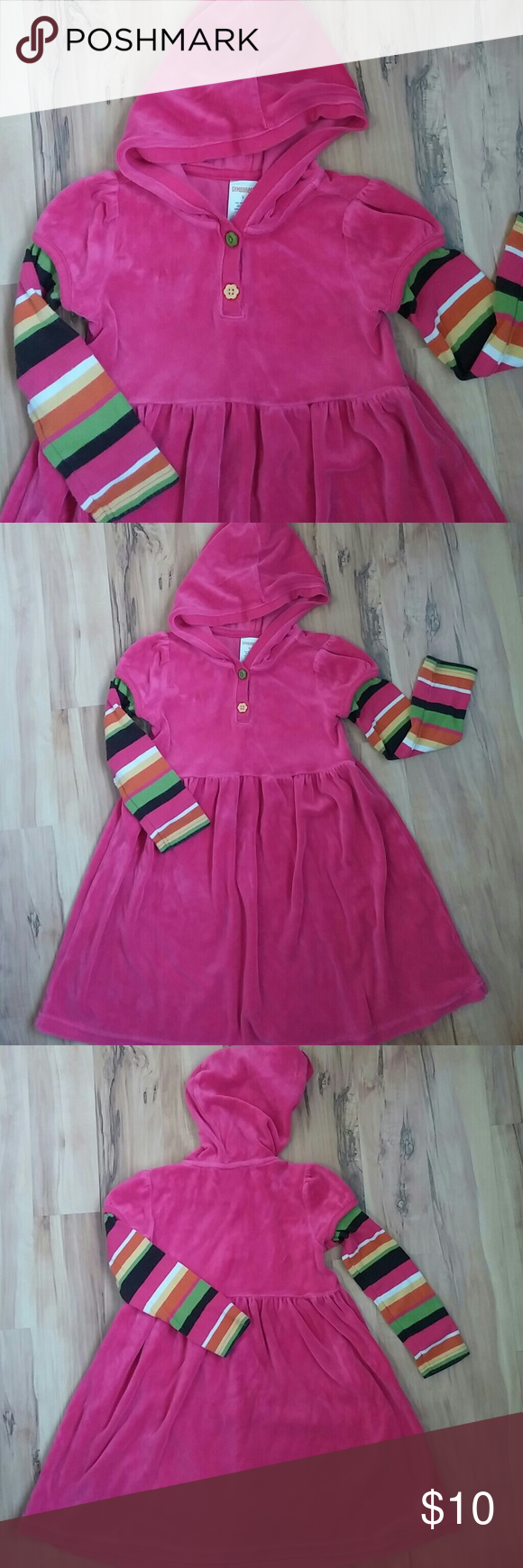 Hooded fleece dress In excellent condition, very soft and still with bright colors. It fits a girl size 5. Gymboree Shirts & Tops Sweatshirts & Hoodies