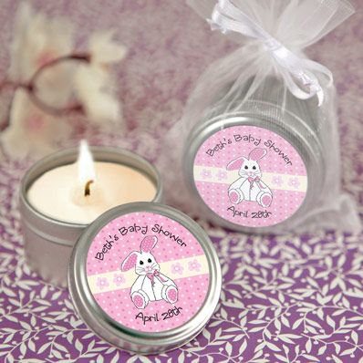 Pink Bunny - Candle Tin Personalized Baby Shower Favors