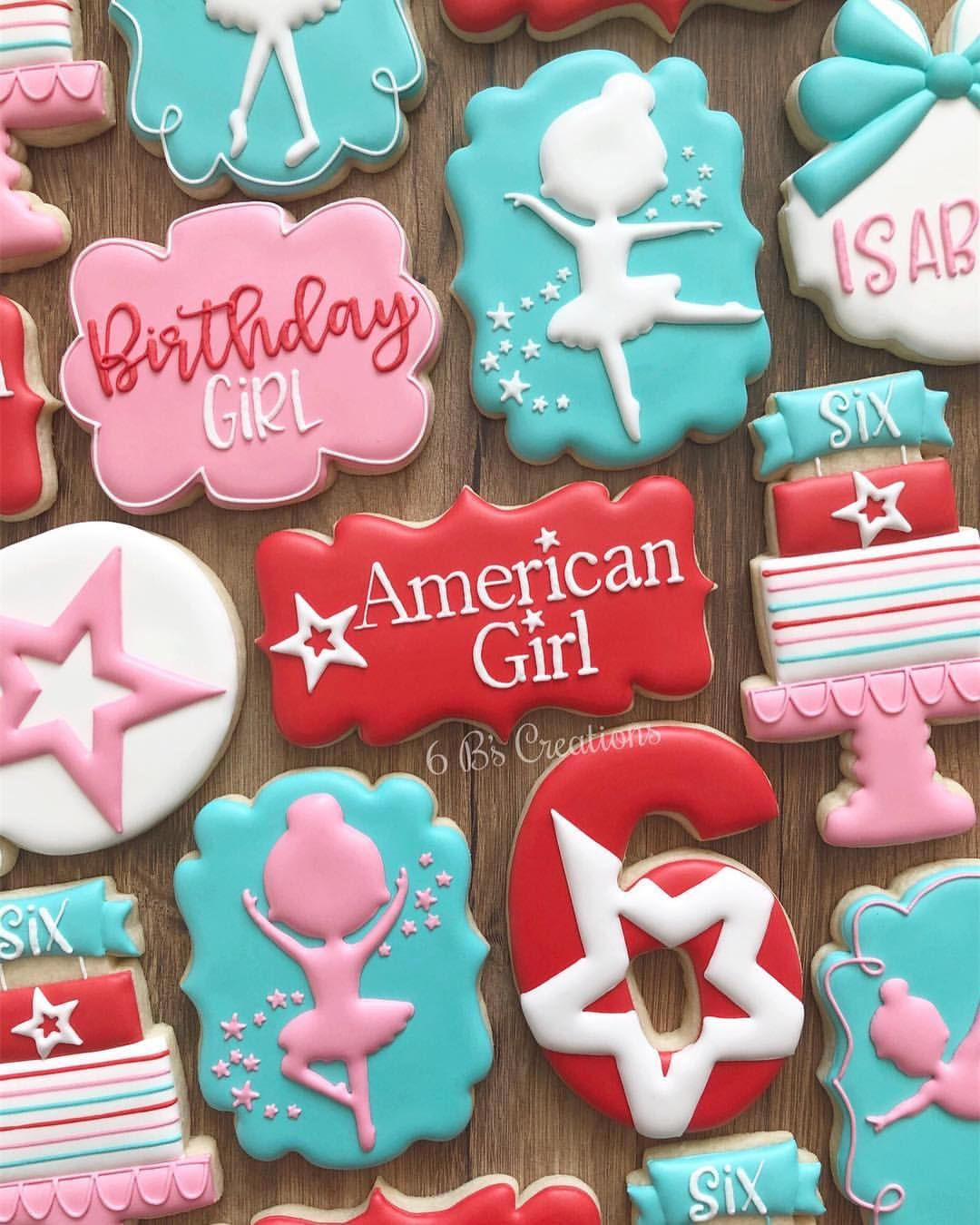 American Girl themed cookies for a sixth birthday!! I