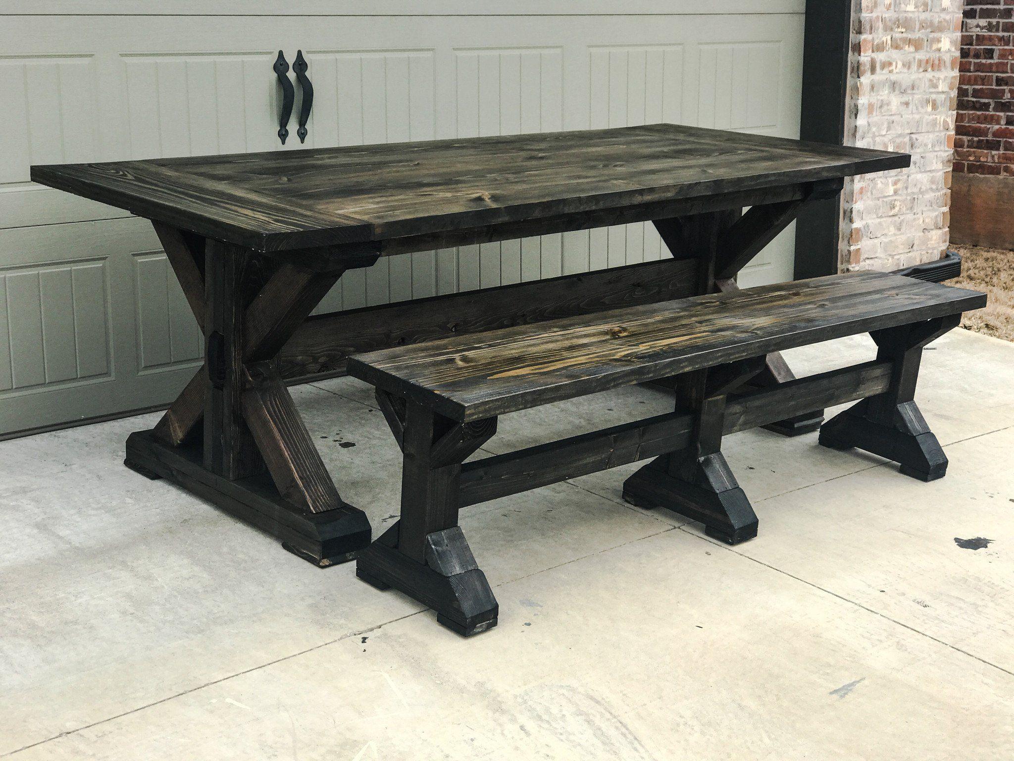Cottage Ideas · Minwax Ebony   Chunky X Base Trestle Farmhouse Table ...
