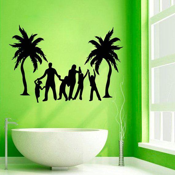 Palm Tree Wall Decals Love Family Beach Trees Bath Palms Vinyl Sticker Bathroom  Decor Tree Vinyl Art Spa Salon Nursery Baby Room Decor KG245