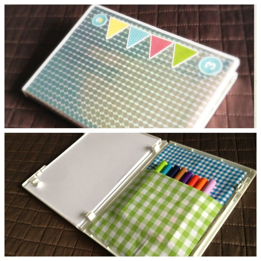 Colouring case upcycled from old DVD case.