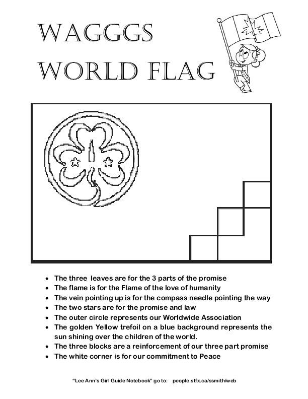 World Flag Colouring Page Brownies Girl Guides Girl Scout
