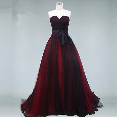 vintage burgundy black evening prom dress strapless lace