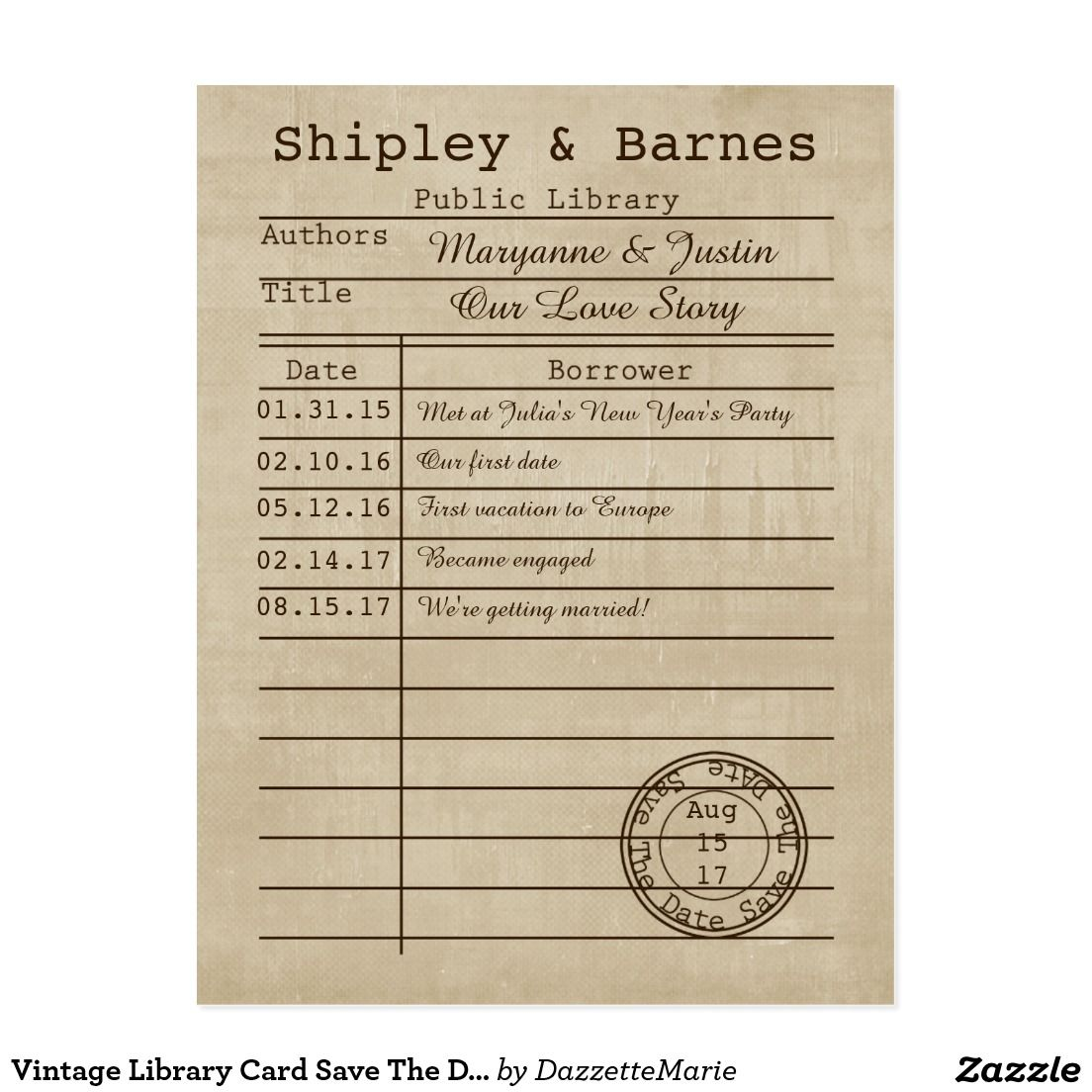Vintage Library Card Save The Date